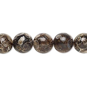 bead, turritella agate (stabilized), 10mm round, b grade, mohs hardness 6-1/2 to 7. sold per 16-inch strand.