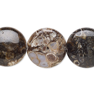 bead, turritella agate (stabilized), 20mm puffed flat round, b grade, mohs hardness 6-1/2 to 7. sold per 8-inch strand, approximately 10 beads.