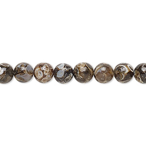 bead, turritella agate (stabilized), 6mm round, b grade, mohs hardness 6-1/2 to 7. sold per 16-inch strand.