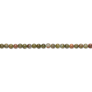 bead, unakite (natural), 2mm round with 0.5-1.5mm hole, b grade, mohs hardness 6 to 7. sold per 16-inch strand.