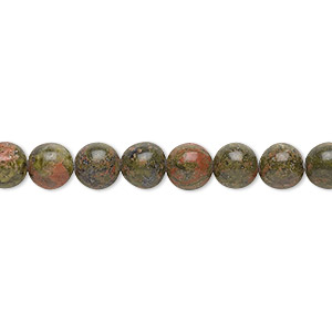 bead, unakite (natural), 6mm round with 0.5-1.5mm hole, b grade, mohs hardness 6 to 7. sold per 16-inch strand.