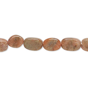 bead, unakite (natural), 8x5mm-11x7mm hand-cut flat oval, c grade, mohs hardness 6 to 7. sold per 13-inch strand.