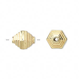 bead, vermeil, 12x11mm hexagon. sold per pkg of 4.