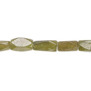 bead, vesuvianite (natural), 11x5mm-13x6mm hand-cut faceted square tube, c grade, mohs hardness 6-1/2. sold per 13-inch strand.