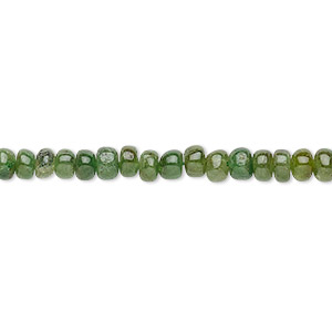 bead, vesuvianite (natural), 2x1mm-5x3mm graduated hand-cut rondelle, b- grade, mohs hardness 6-1/2. sold per 16-inch strand.