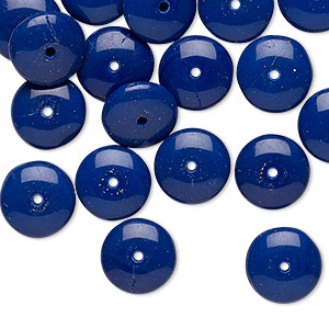 bead, vintage czech pressed glass, opaque navy blue, 10x4mm rondelle. sold per pkg of 24.