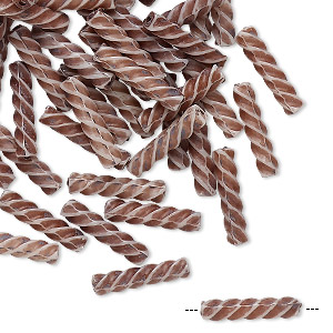 bead, vintage german acrylic, brown and white, 14x3mm twisted round tube. sold per pkg of 100.