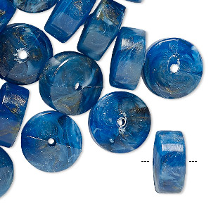 bead, vintage german acrylic, marbled blue / white / gold, 14x7mm heishi. sold per pkg of 24.