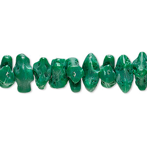 bead, vintage german acrylic, marbled green and white, small nugget. sold per 25-inch strand.