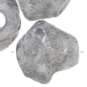 bead, vintage german acrylic, marbled grey and white, extra-large nugget. sold per pkg of 3.