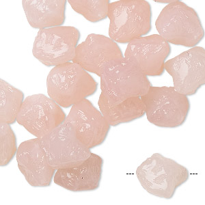 bead, vintage german acrylic, marbled pale pink and white, small rough nugget. sold per pkg of 24.