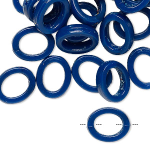 bead, vintage german acrylic, navy blue, 13.5x11mm open oval. sold per pkg of 24.