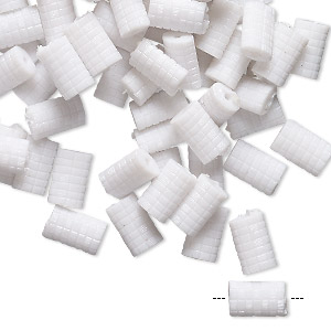 bead, vintage german acrylic, white, 8x5mm pillow with checkerboard design. sold per pkg of 100.