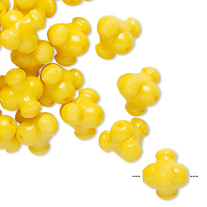 bead, vintage german acrylic, yellow, 11x10mm fancy triangle rondelle. sold per pkg of 24.