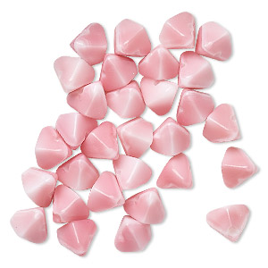 bead, vintage german pressed glass, opaque pink and white, 7x6mm double pyramid. sold per pkg of 30.