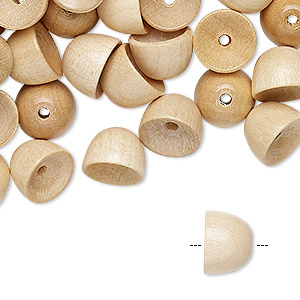 bead, vintage german wood (coated), 10x7mm round cone, fits 8mm bead. sold per pkg of 100.