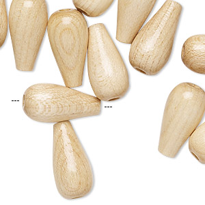 bead, vintage german wood (coated), 18x9mm teardrop with 2.5mm hole. sold per pkg of 24.