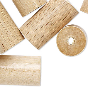 bead, vintage german wood (coated), 30x16mm round tube with 3mm hole. sold per pkg of 6.