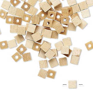 bead, vintage german wood (coated), 4x4mm cube. sold per pkg of 100.