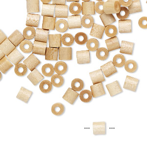 bead, vintage german wood (coated), natural, 4x4mm round tube. sold per pkg of 100.
