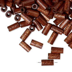 bead, vintage german wood (dyed / coated), dark brown, 8x4mm round tube. sold per 50-gram pkg, approximately 1,000 beads.