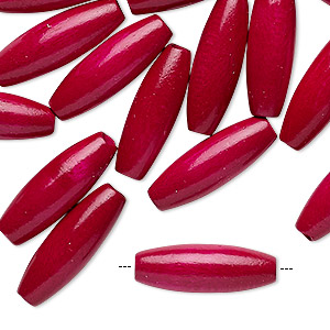 bead, vintage german wood (dyed / coated), magenta, 21x7mm oval. sold per pkg of 24.