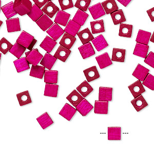 bead, vintage german wood (dyed / coated), magenta, 4x4mm cube. sold per pkg of 100.