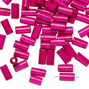 bead, vintage german wood (dyed / coated), magenta, 8x4mm round tube. sold per pkg of 100.