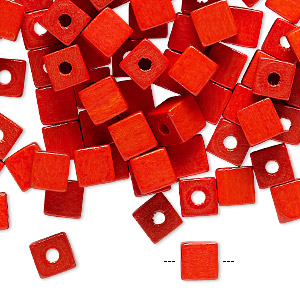 bead, vintage german wood (dyed / coated), orange, 6x6mm cube. sold per pkg of 100.