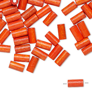 bead, vintage german wood (dyed / coated), orange, 8x4mm round tube. sold per pkg of 100.