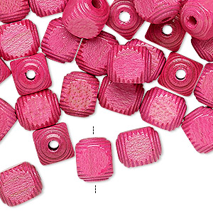bead, vintage german wood (dyed / coated), pink, 10x8mm corrugated rounded cube. sold per pkg of 100.