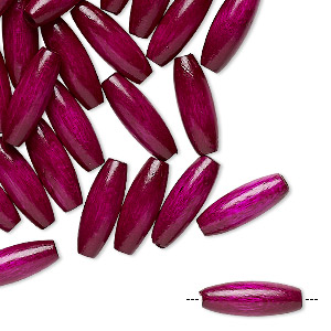 bead, vintage german wood (dyed / coated), purple, 14x5mm oval. sold per pkg of 100.