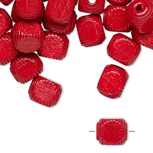 bead, vintage german wood (dyed / coated), red, 10x8mm corrugated rounded cube. sold per pkg of 100.