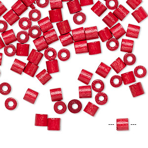 bead, vintage german wood (dyed / coated), red, 4x4mm round tube. sold per pkg of 100.