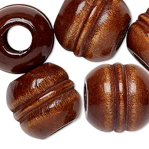 bead, vintage japanese wood (dyed / coated), brown, 21x21mm-23x22mm carved barrel with 8mm hole. sold per pkg of 6.