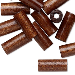 bead, vintage japanese wood (dyed / coated), dark brown, 18x8mm round tube. sold per pkg of 24.