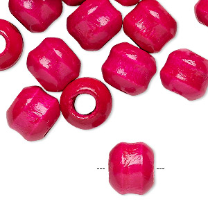 bead, vintage japanese wood (dyed / coated), magenta, 12x11mm rondelle. sold per pkg of 24.