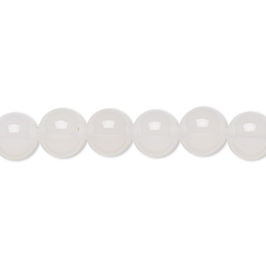 bead, white agate (natural), 8mm round, b grade, mohs hardness 6-1/2 to 7. sold per 16-inch strand.