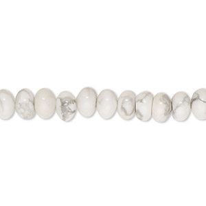bead, white howlite (natural), 6x4mm rondelle, b grade, mohs hardness 3 to 3-1/2. sold per 16-inch strand.