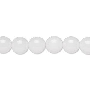bead, white malaysia jade (natural), 8mm round, b grade, mohs hardness 7. sold per 16-inch strand.