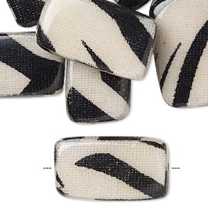 bead, wood / cotton / acrylic, black and cream, 24x14mm double-sided flat rectangle with zebra stripe pattern. sold per pkg of 8.