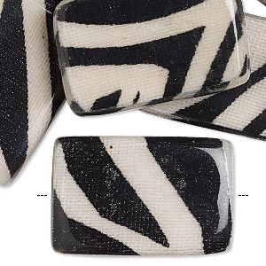 bead, wood / cotton / acrylic, black and cream, 30x20mm double-sided flat rectangle with zebra stripe pattern. sold per pkg of 8.