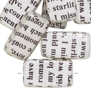 bead, wood / newspaper / acrylic, white and black, 24x14mm double-sided flat rectangle with phrase in english. sold per pkg of 8.