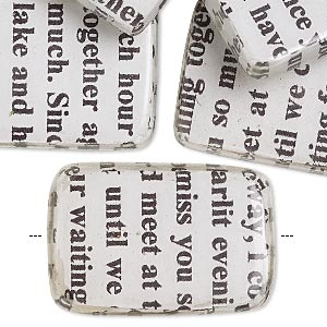 bead, wood / newspaper / acrylic, white and black, 30x20mm double-sided flat rectangle with phrase in english. sold per pkg of 8.