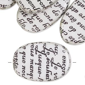 bead, wood / newspaper / acrylic, white and black, 30x20mm double-sided flat oval with phrase in french. sold per pkg of 8.