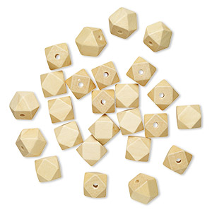 bead, wood (bleached), white, 20x20mm hand-cut faceted cube. sold per pkg of 25.