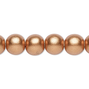 bead, wood (coated / waxed), metallic copper, 9-10mm round with 2-2.5mm hole. sold per pkg of (2) 16-inch strands.