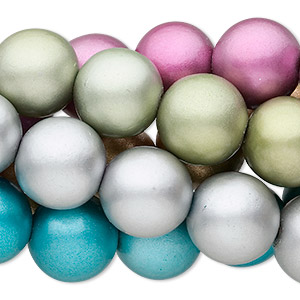 bead, wood (coated), assorted metallic colors, 20mm round with 3.4mm hole. sold per pkg of (5) 15-inch strands.