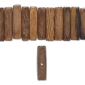 bead, wood (coated), brown, 21x5mm rectangle. sold per 16-inch strand.