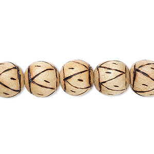bead, wood (coated), burnt, 9mm round with triangle pattern. sold per 16-inch strand.